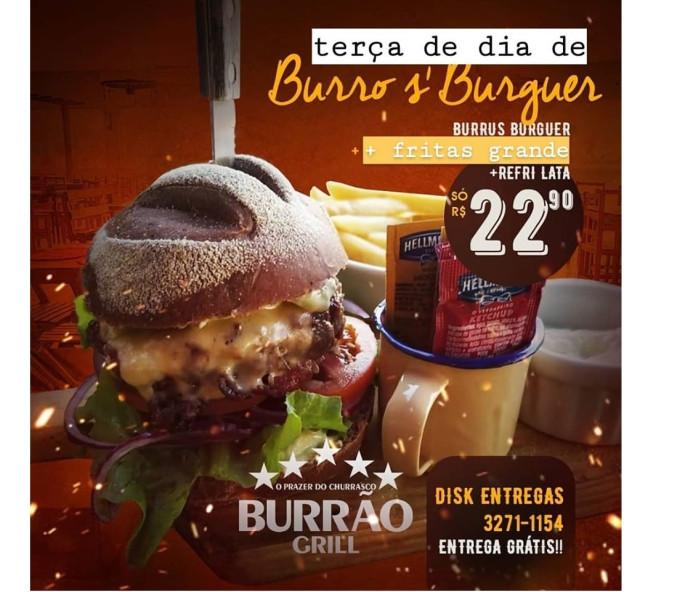 Super promoção de hambúrguer com fritas e refrigerante lata no delivery desta terça do Burrão Grill