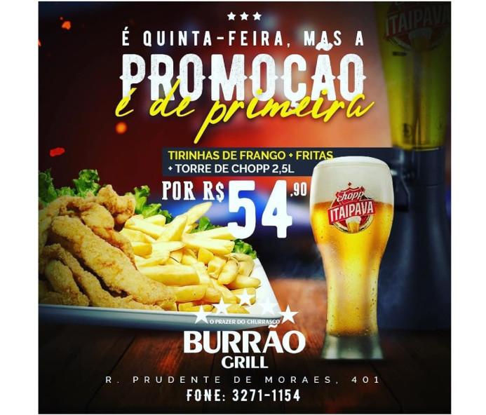 Bar do Burrão faz promoção de primeira para esta quinta-feira