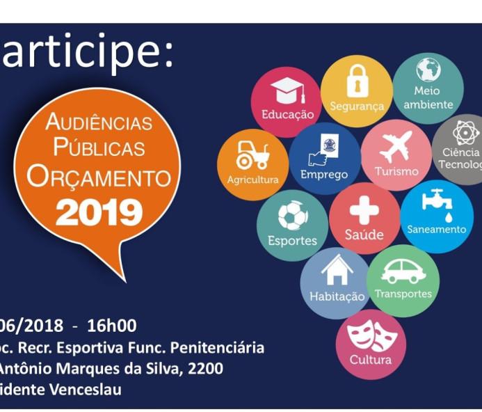 Venceslau sedia audiência pública para debater Orçamento Estadual 2019